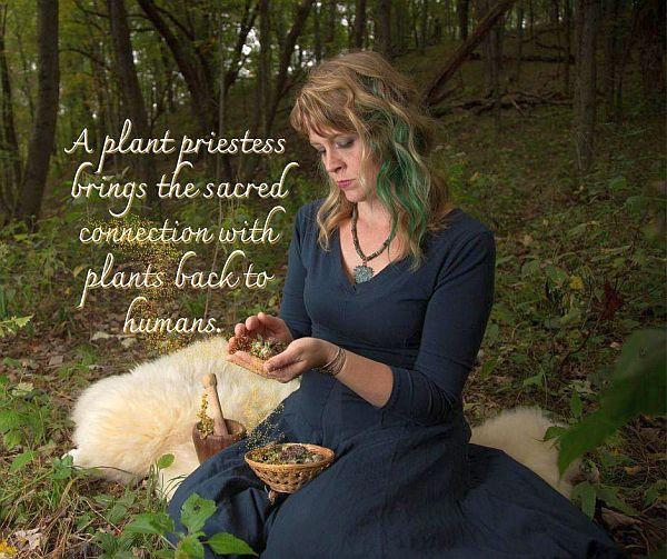 Erin La Faive sitting on the forest floor with bowls of herbs