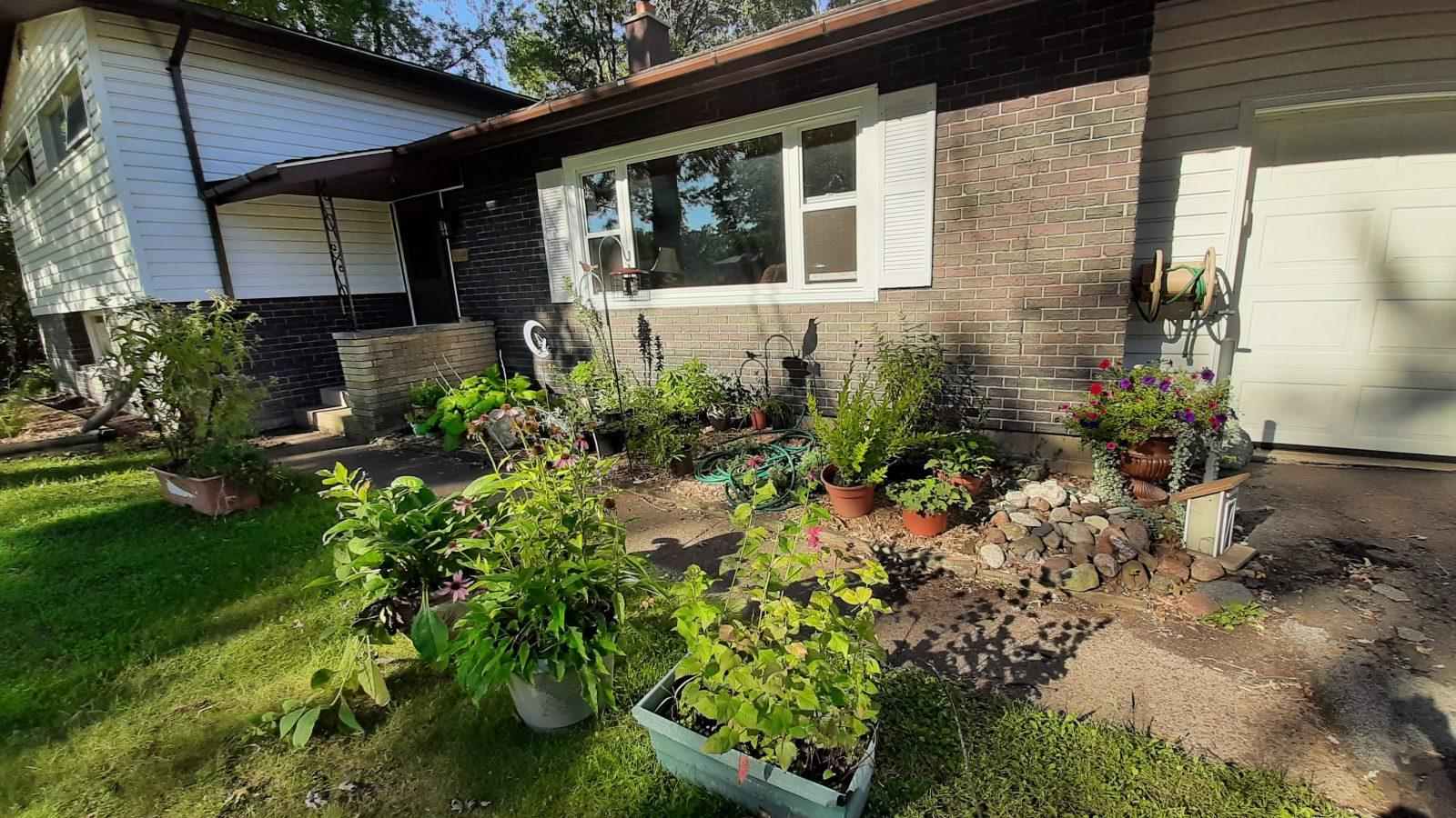 many potted plants in front of the house